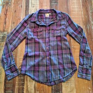 Roxy Purple Plaid Flannel Button Down Shirt M